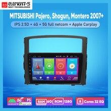 Автомобильный радиоприемник ELEMENT-5, 10 дюймов, 6 ГБ + 128 Гб, Android 10, 4G 5G, Wi-Fi, RDS, DSP для MITSUBISHI Pajero, Shogun, Montero 2007 +, навигация GPS HiFi