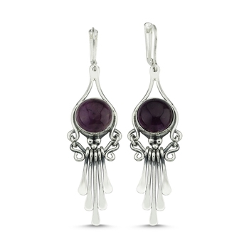 Silver 925 Sterling Amethyst Cubic Zirconia Dangle Hand Handwork Earrings