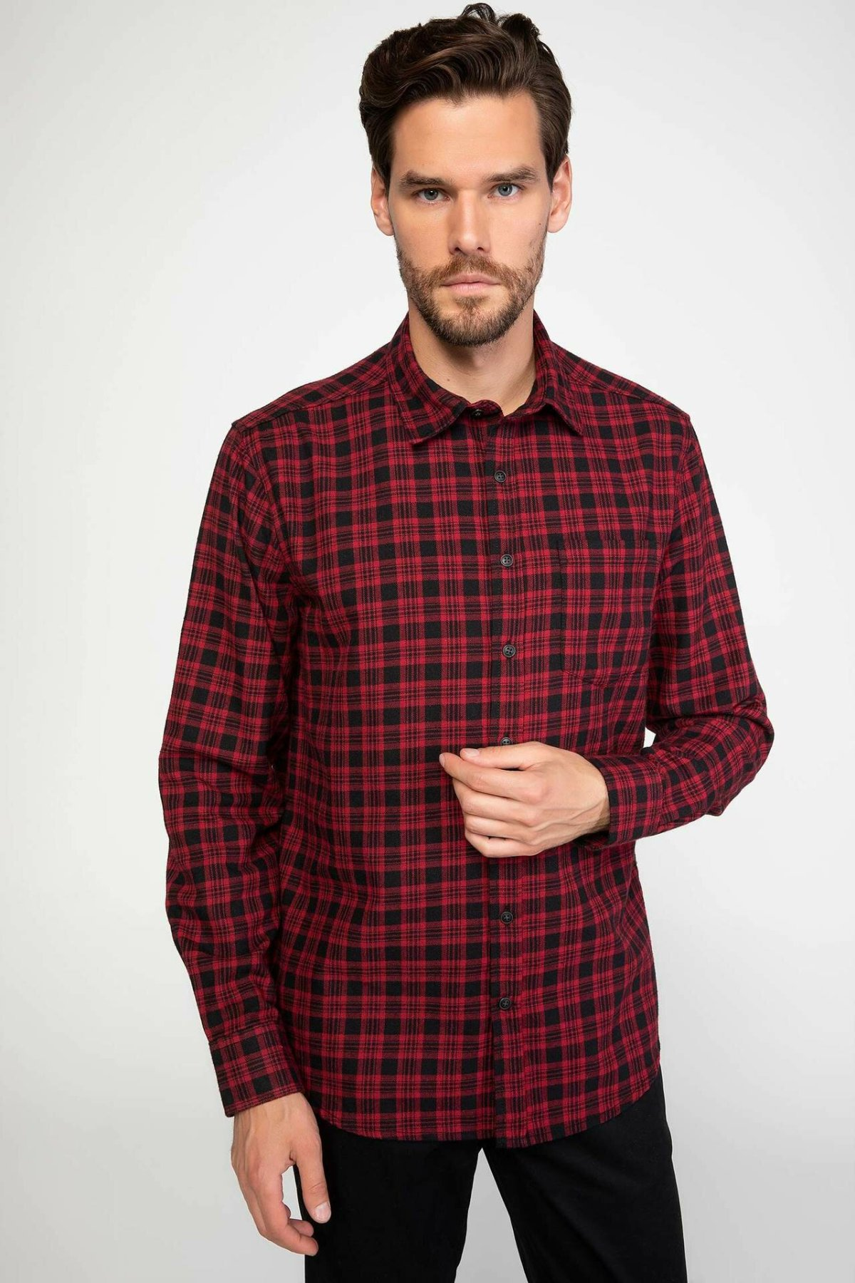 DeFacto Casual Fashion Men Long Sleeve Shirt Autumn Men Lapel Casual High Quality Blouses Male Plaid Shirts New- J1420AZ18WN