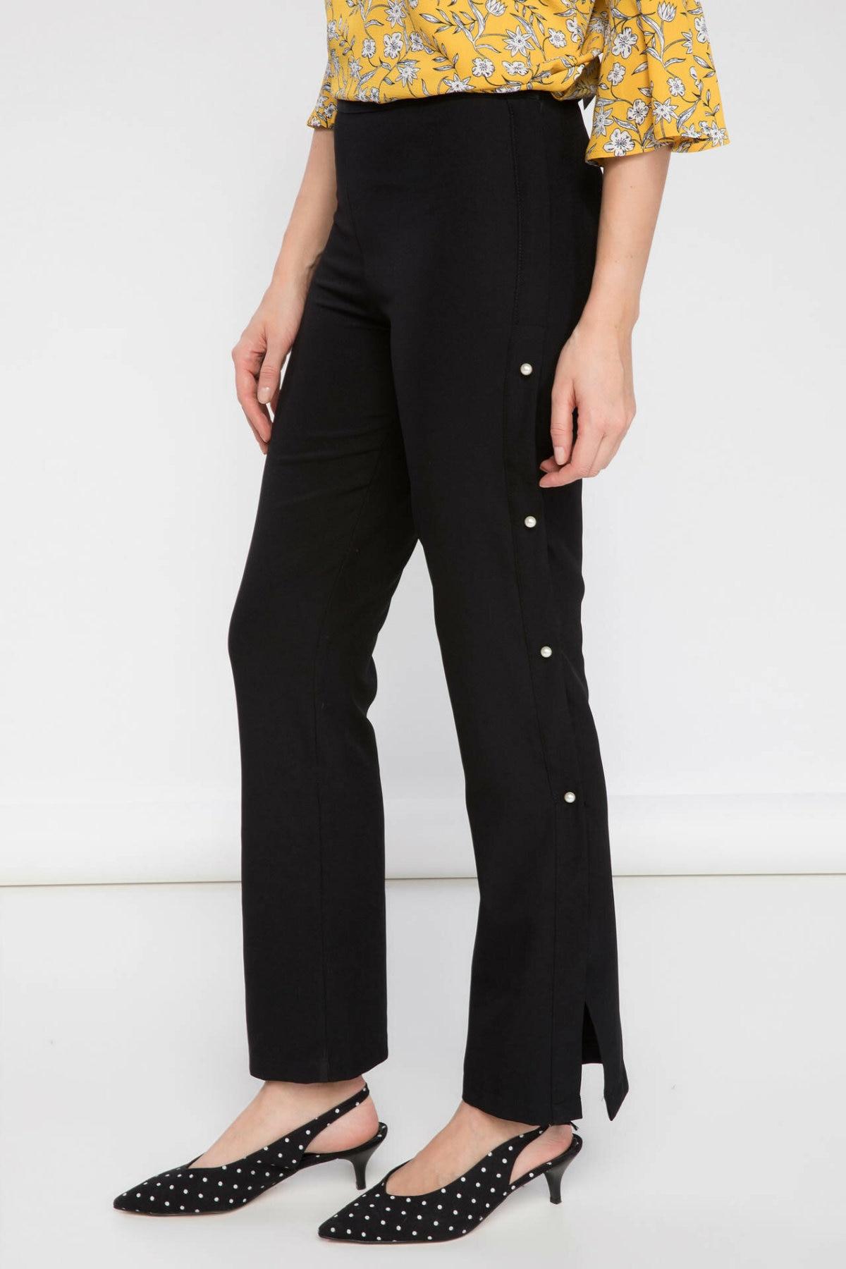 DeFacto Woman Chiffon Black Trousers Black Bell Bottoms Pearl Decors Mid-waist Women Flared Trousers-I2055AZ17AU