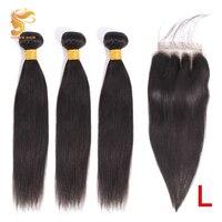 AOSUN волосы, бразильские вплетаемые пряди, прямые волосы, пряди с закрытием, 100% человеческие волосы для наращивания, remy волосы 8-26 дюймов