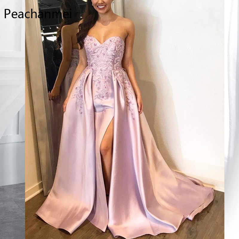 Sweetheart Evening Dress Robe De Soiree Lace Appliques Formal Wedding Party Dresses 2019 with Split Elegant Vestido de Festa in Evening Dresses from Weddings Events