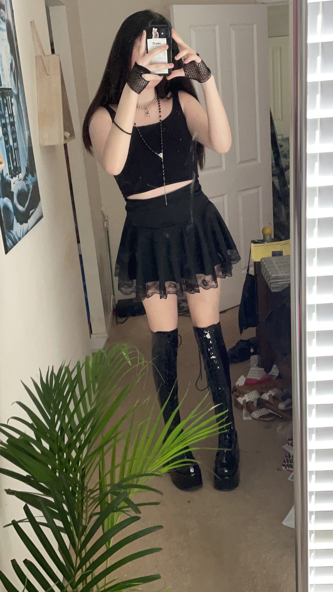 Lace Hem Pleated Mini Skirt with  High Waist photo review