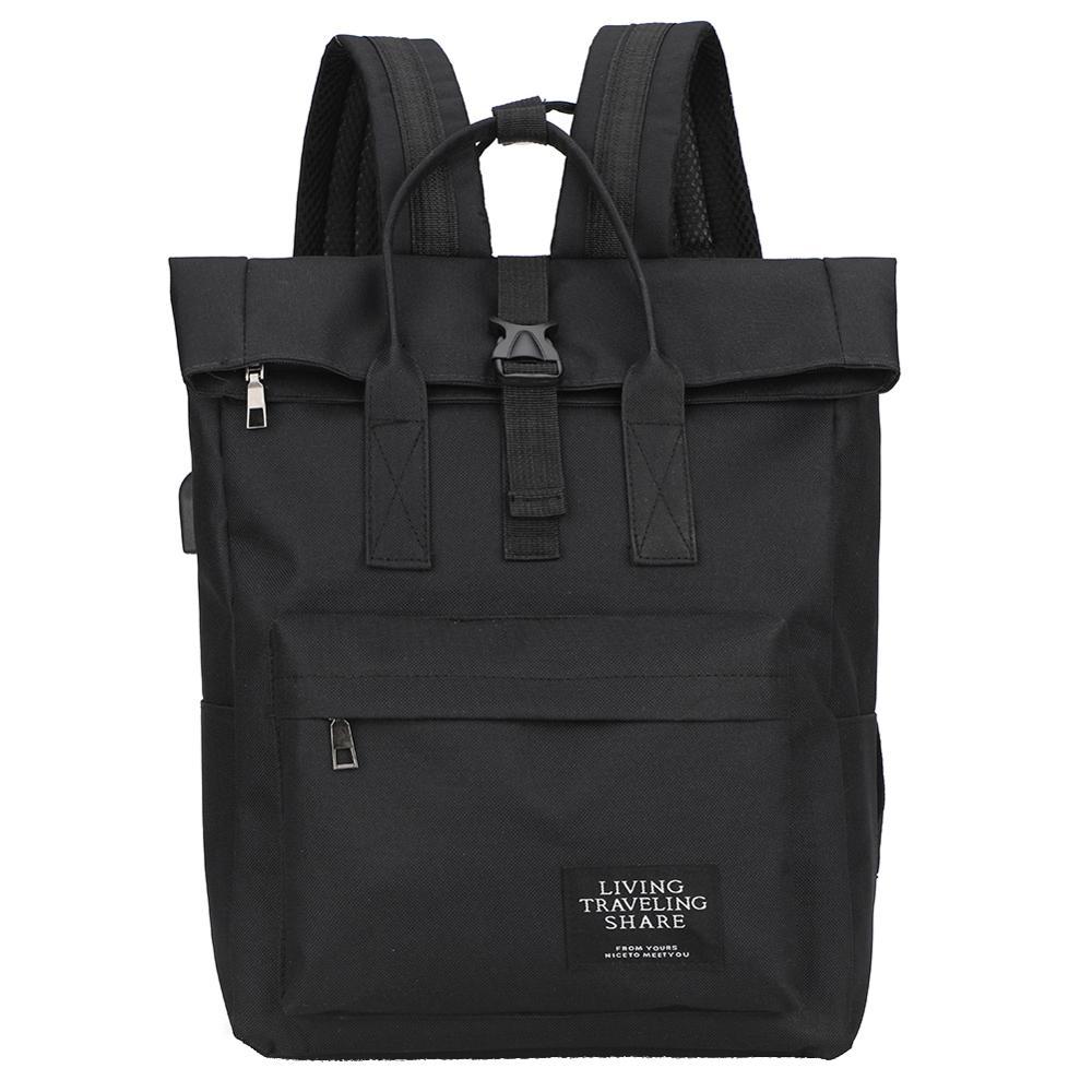Nylon Women Men Backpack Large Capacity Laptop Knapsack Fashion Rucksack USB Charging Top-handle Bags Mochila Feminina Mujer