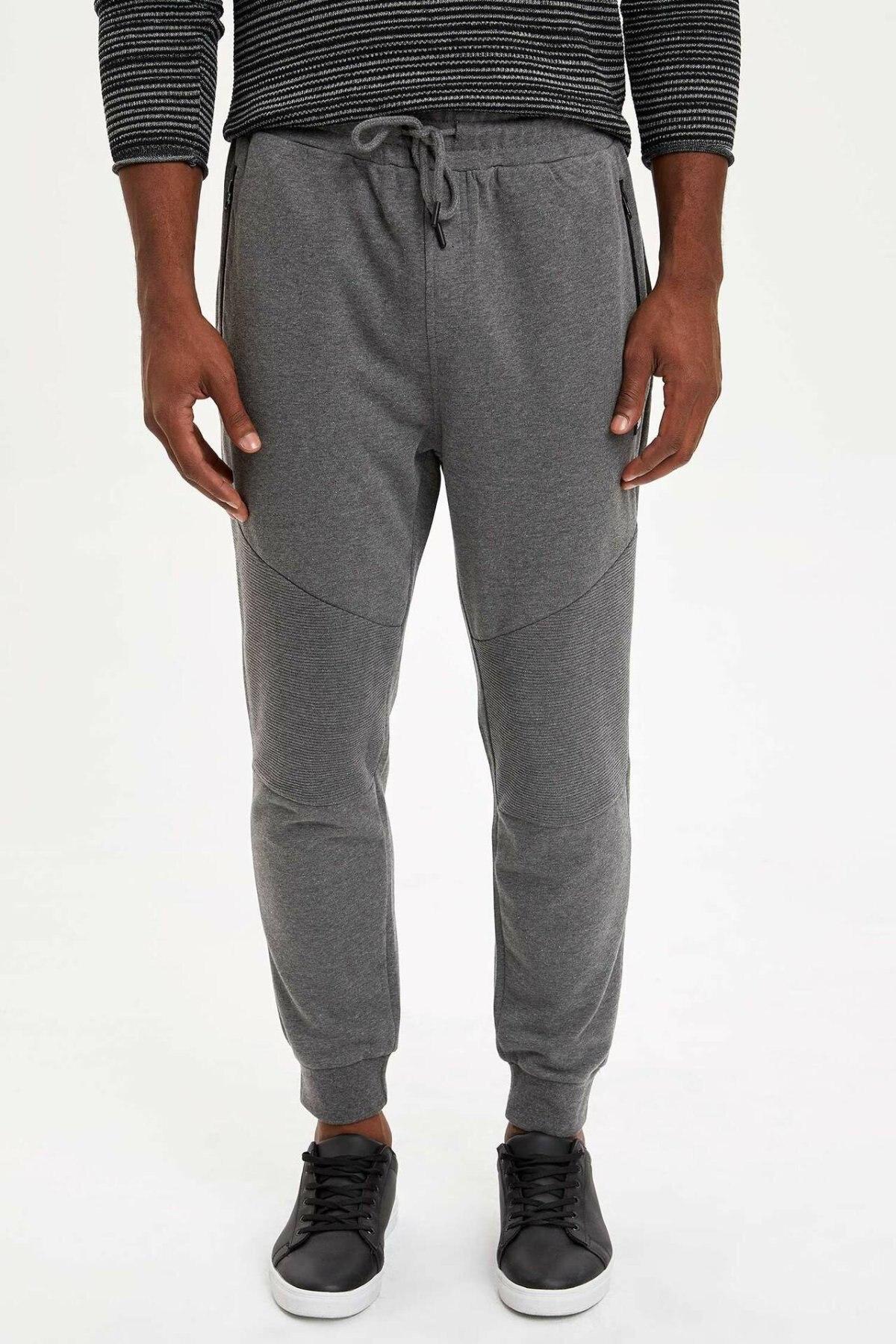 DeFacto Man Autumn Light Grey Long Pants Men Lace-up Bottoms Male Casual Straight Sports Trousers-L1797AZ19AU