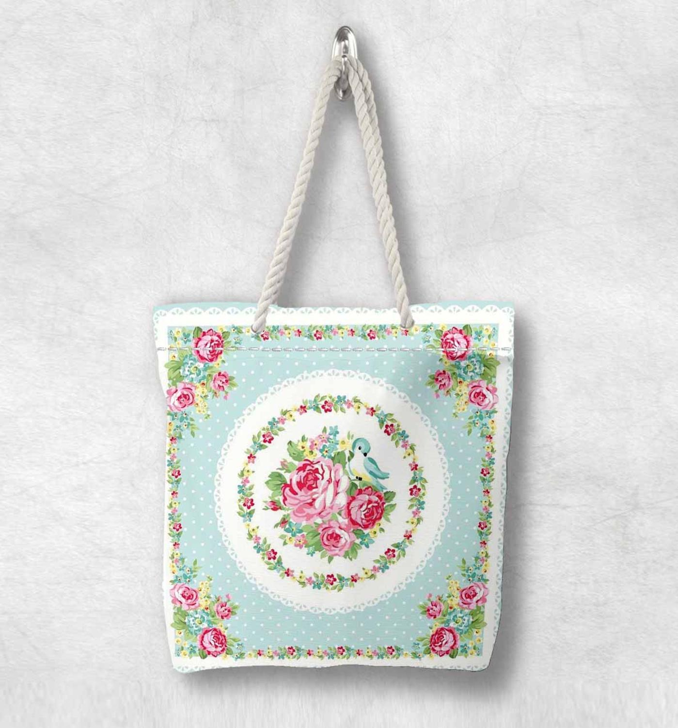 Else Blue Floor Pink Vintage Roses Flowers New Fashion White Rope Handle Canvas Bag Cotton Canvas Zippered Tote Bag Shoulder Bag
