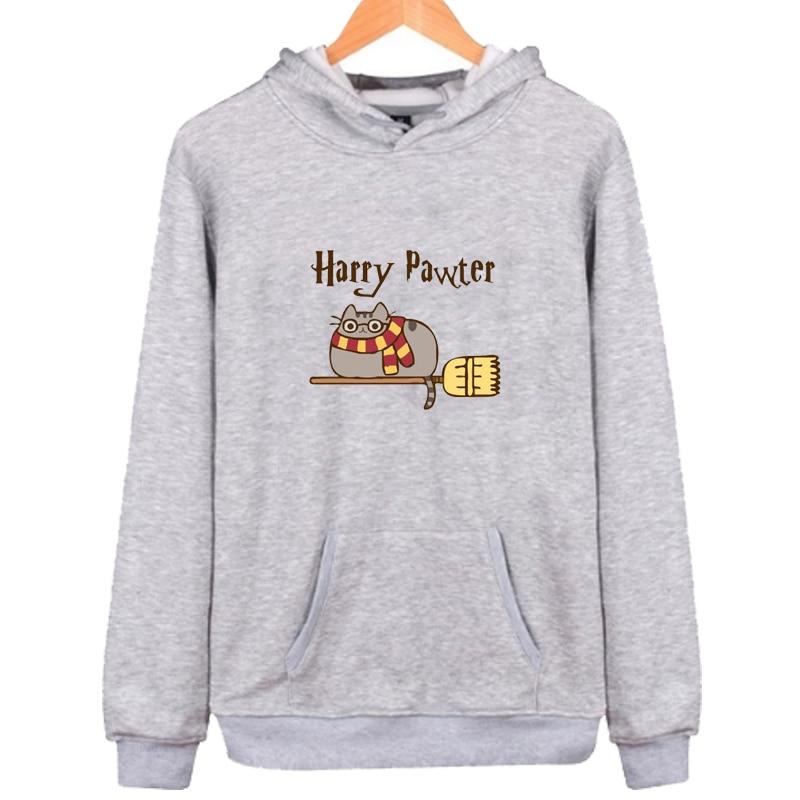 Cute Harry Pawter Pusheen Hoodies Women Men Autumn Winter Long Sleeve Hooded Sweatshirts Cartoon Pusheen Pullover Tops