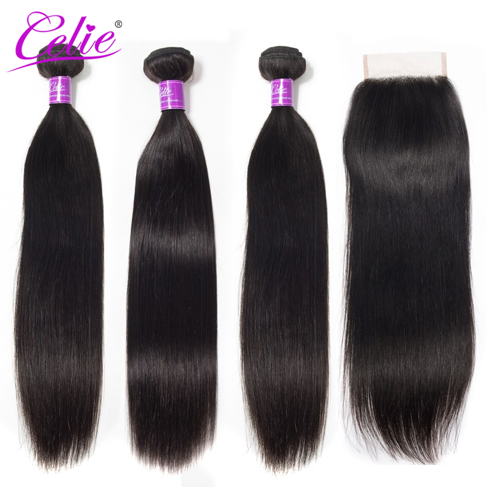 Celie Hair Peruvian Hair Bundles With Closure Straight Hair Bundles With Closure Human Hair Bundles With Closure