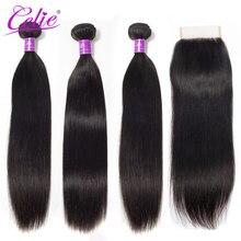 Celie Hair Peruvian Hair Bundlesกับการปิดตรงผมปิดผมมนุษย์รวมกับปิด