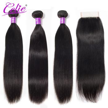 Celie Hair peruwiańskie pasma włosów z zamknięciem pasma prostych włosów z zamknięciem wiązki ludzkich włosów z zamknięciem tanie i dobre opinie Proste = 15 = 60 CN (pochodzenie) Remy włosy Wszystkie kolory Wyprostował 3 sztuk wątek i 1 pc zamknięcia Peruwiański włosów