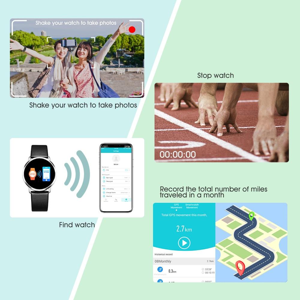 Смартчасы RUNDOING Q8 OLED дисплей умные часы женские  фитнес трекер датчик сердцебиения кровяное давление мужские часы 5