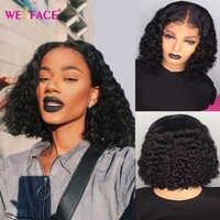 Ombre bob corto rizado Peluca de cabello humano para las mujeres 13x1 T malla con división pelucas 1B 30 Color cierre 4x4 peluca para 150% mujeres 180% de densidad