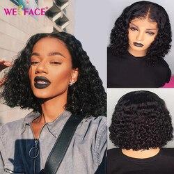 Ombre krótki bob kręcone ludzkie włosy peruka dla kobiet 13x1 T częściowo koronka peruki 1B 30 kolor 4x4 zamknięcie peruka dla kobiet 150% 180% gęstości