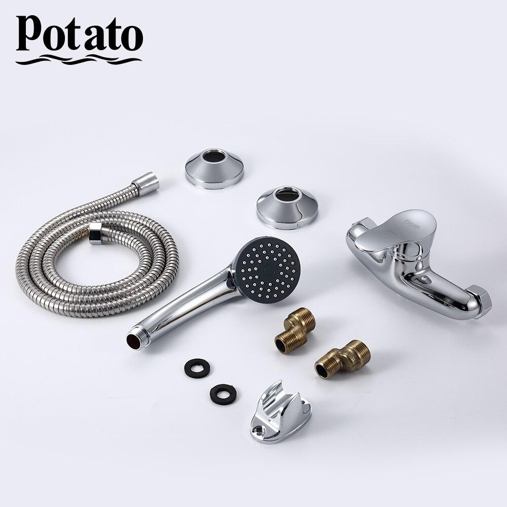 Картофель душ набор с портативный настенный настенный горячая и холодная душ ванная смеситель ванна душ кран p20214