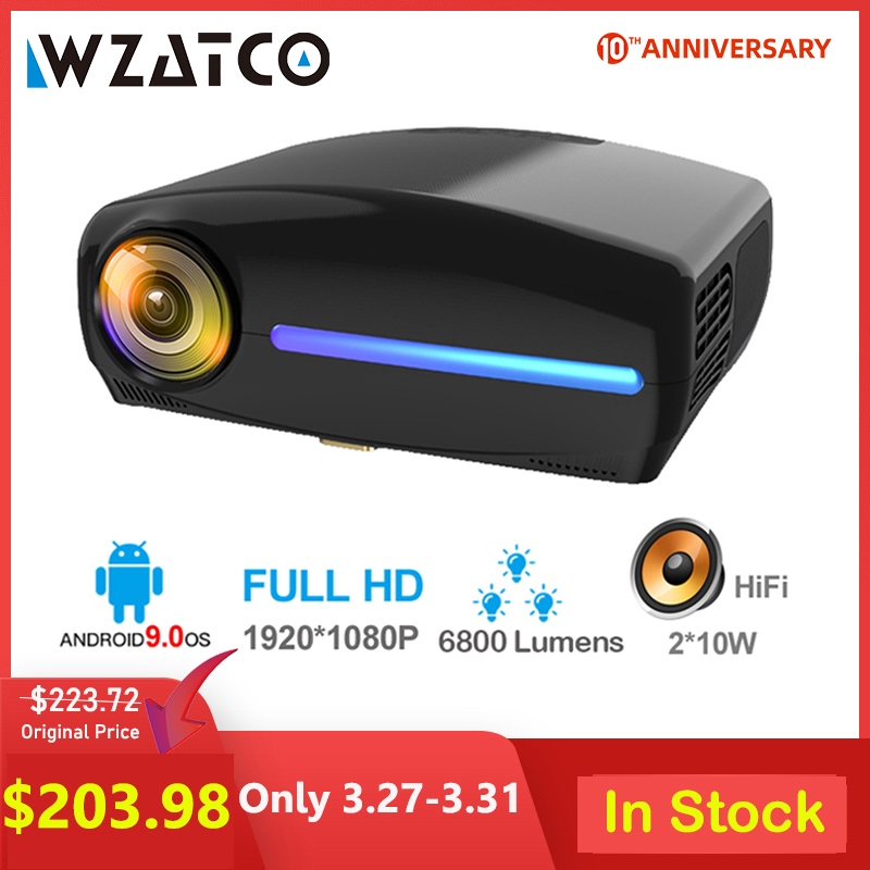 WZATCO C2 1920*1080P Full HD 50 Degree Digital Keystone LED Projector Android 9.0 Wifi Optional Portable Home Proyector Beamer