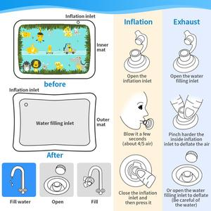 Image 4 - Bauch Zeit Spielen Matte Aufblasbare Baby Wasser Mat Infant Baby Matte Spaß Aktivität Spielen Kleinkinder Spielzeug für 3 12 monate