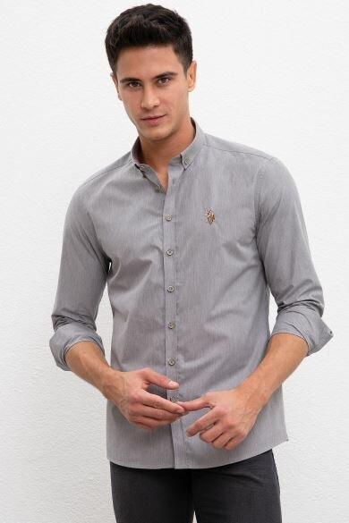 U.S. POLO ASSN. Gray Plain Slim Shirt