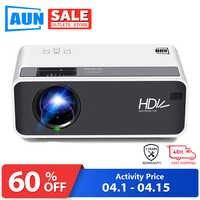 AUN proyector LED HD D60 | Resolución de 1280x720P | Soporta proyector de vídeo 3D, cine en casa, proyector wifi Android opcional D60S