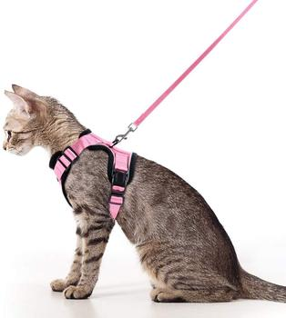 Reflective Pink Cat Vest Harness With Leash Set For Walking Soft Mesh Small Dog Harness for Small Medium Kitten Puppy Rabbit 1