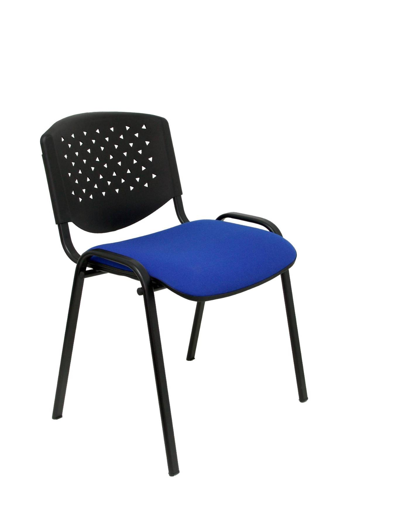 Pack 4 Guest Chairs Desk Ergonomic, Stackable, Multipurpose And Structure In Color Black Respaldo PVC Black Color And ASI