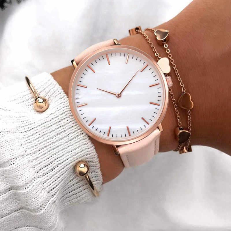 Yeni moda basit İzle kadınlar saatler rahat bayan deri quartz saat kadın saat Vrouwen Relogio Feminino Zegarek Damski