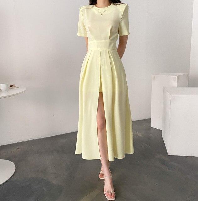 Women Elegant Vestidos 2021 Summer Korean Style Slim Elegant  Party Chic Casual Spilt Dresses 5