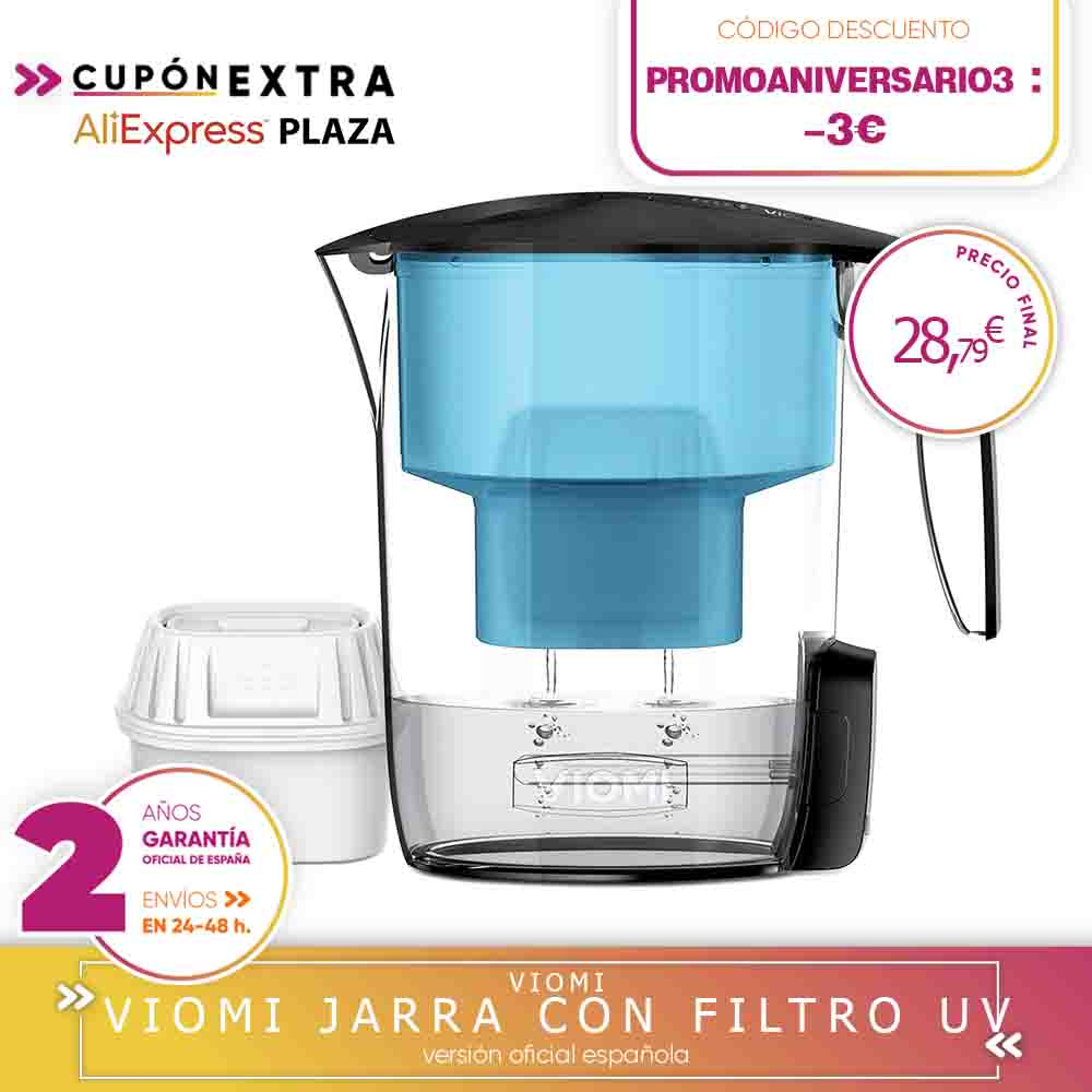 -Warranty Square-jug With Water Filters With Multiple Effects Disinfection UV Smart Xiaomi Youpin-Black