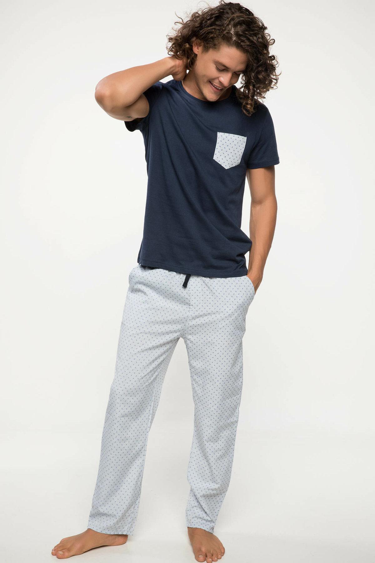 DeFacto Man Knitted Pajamas Sets Men Knitted Short Sleeve Tops Casual Long Pants Men's Homewear Sets-J6975AZ18AU