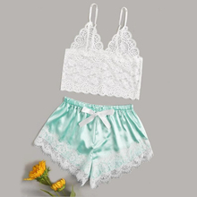 цена на LOPNT Sexy pajamas for women underwear set Floral Lace Cami Top With Satin Shorts Loose pj set women's sleepwear femal home suit