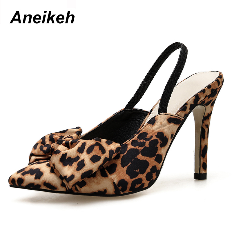 Aneikeh 2020 New Shoes Woman Sexy Leopard Print Butterfly-knot High Heel Shoes Ladies Party Thin Heels Slingbacks Pumps Size 40