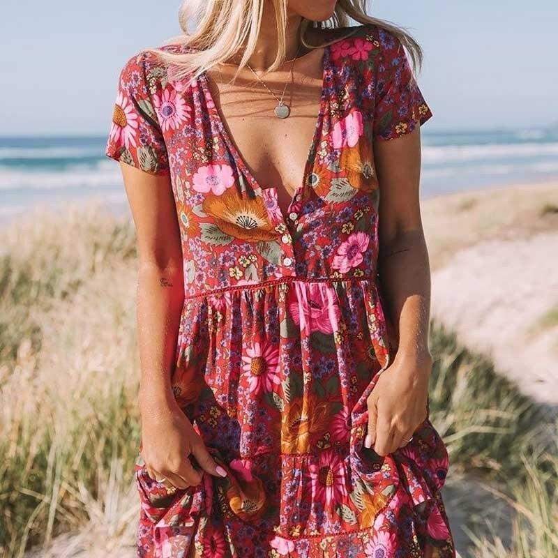 Daisy rouge imprimé fleuri Boho imprimé robe d'été col en v bouton avant manches mini femmes robe bohème chic vestidos