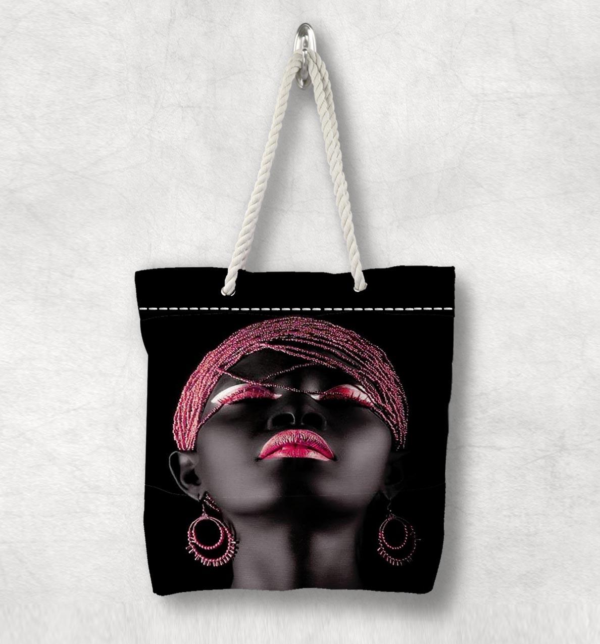 다른 흑인 소녀 핑크 헤어 입술 새로운 패션 화이트 로프 핸들 캔버스 가방 코튼 캔버스 지퍼가 달린 토트 백 숄더 백
