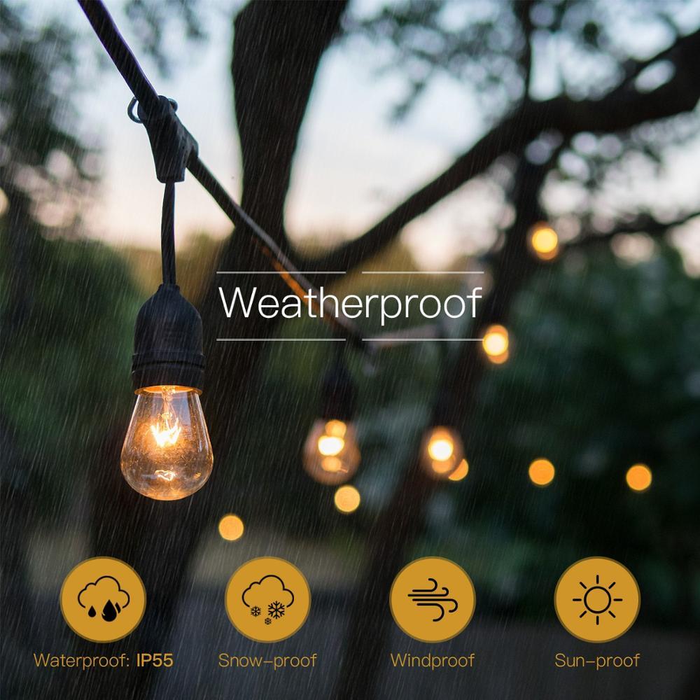 Waterproof LED Outdoor Solar String Lights - 2W Vintage Edison Bulbs 27 Ft Heavy Duty Patio Lights