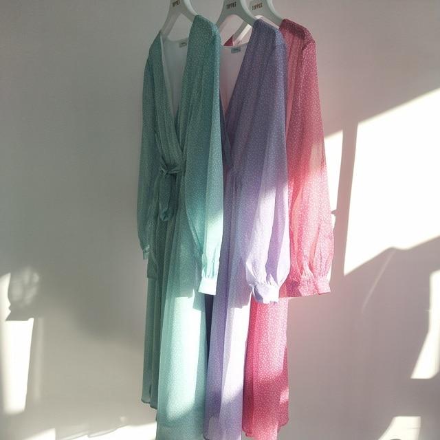 Toppies 2021 Women Dress Heart Print vestidos Wrap around v neck Long sleeve Fashion Pink Chiffon Dresses 6