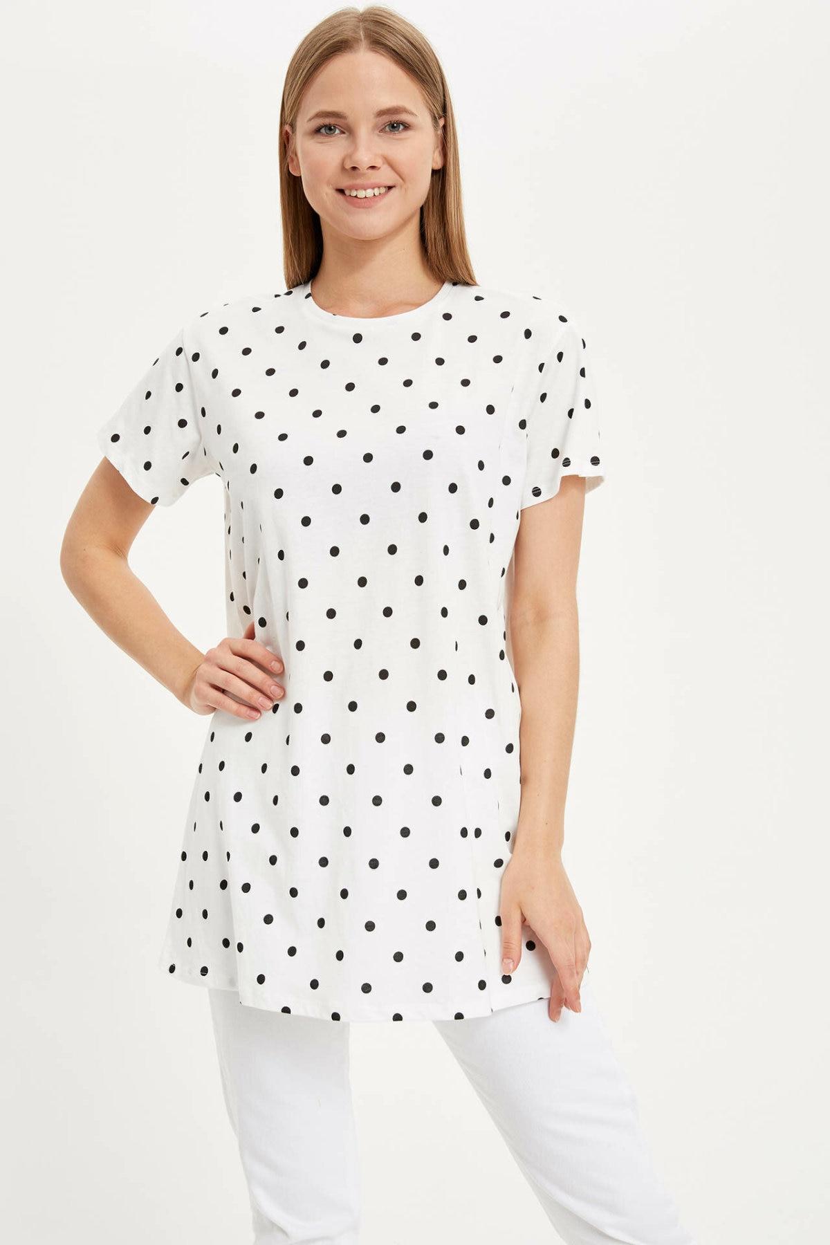 DeFacto Fashion Women O-neck Dot Short Sleeves Tees Casual Lady Loose Tops Summer Female Long T-shirts - L6798AZ19HS