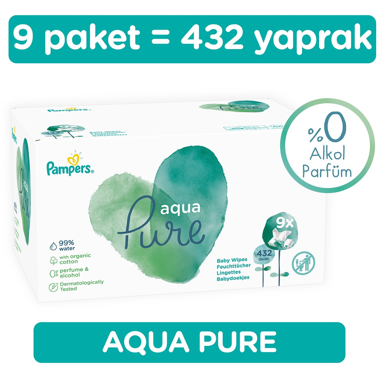 Ebebek Prima Pampers Aqua Pure Wet Towel 9x48 Pcs