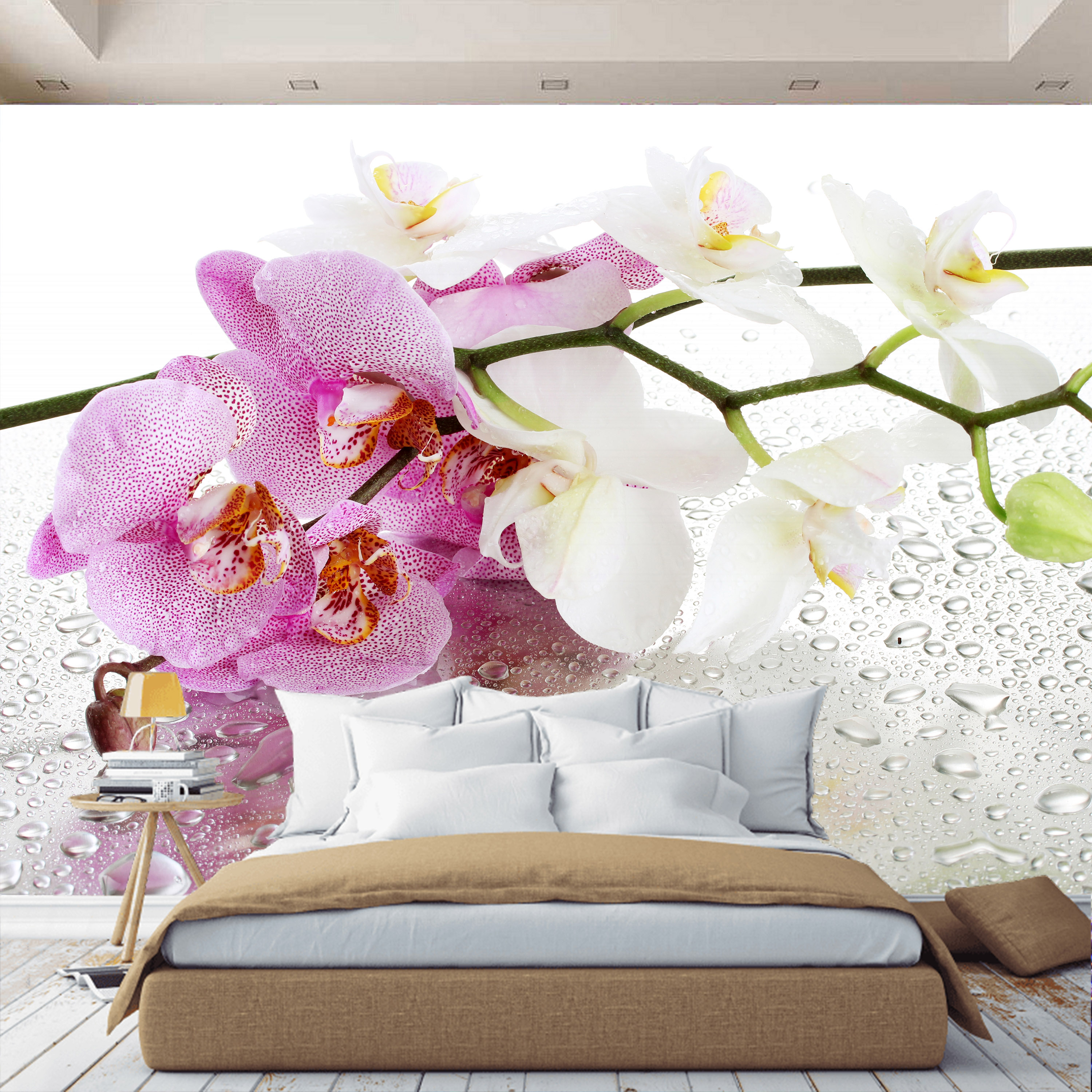 3D Wall Mural Wallpaper Orchid Flowers, Custom Wallpaper, For Hall, Kitchen, Bedroom, Children's, Wall Mural Expanding Space