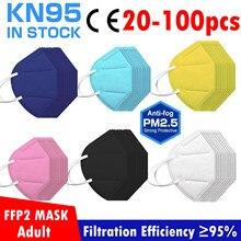 20/50/100 pces 6 cor kn95 máscara facial adulto mascarilla fpp2 homólogo masque branco preto rosa amarelo azul máscara para o rosto ffp2mask