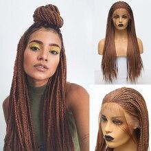 Carisma natural linha fina peruca dianteira do laço sintético cor marrom trançado caixa tranças peruca com cabelo do bebê trançado perucas