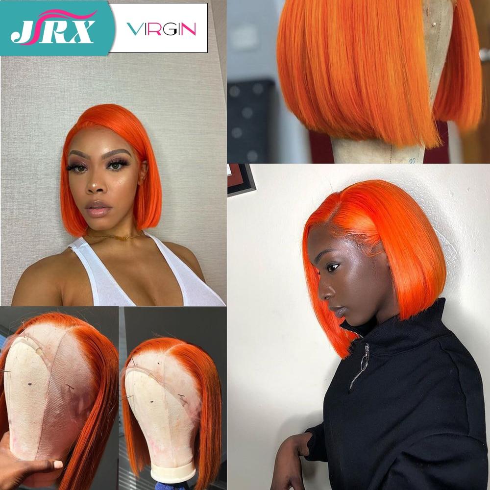 JRX Hair Orange Pre Colored Lace Front Wig 100 Human Hair Bob Wig Colored Pre Plucked Innrech Market.com