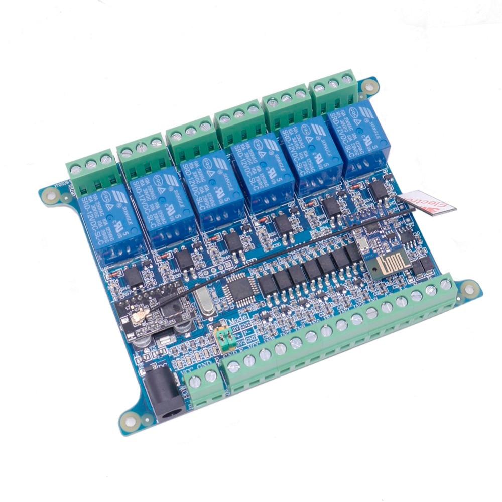 Taidacent 6 Way 8 Inputs WIFI 2.4G Wireless Communication RS485 Relay Controller RF Sensing Relay MODBUS RTU RS485 Relay Module