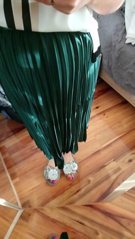 Fashion High Waist Stretch Women White Skirts Boho Women Spring Pleated Skirt Faldas Jupe Femme Saia photo review