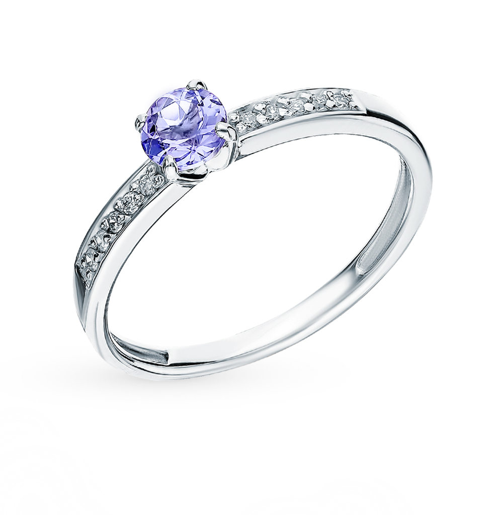 Gold Ring With Tanzanite And Diamonds Sunlight Sample 585