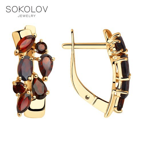 SOKOLOV Drop Earrings With Stones With Stones With Stones With Stones With Stones With Stones With Stones With Stones With Stones Of Gold With Garnets Fashion Jewelry 585 Women's Male