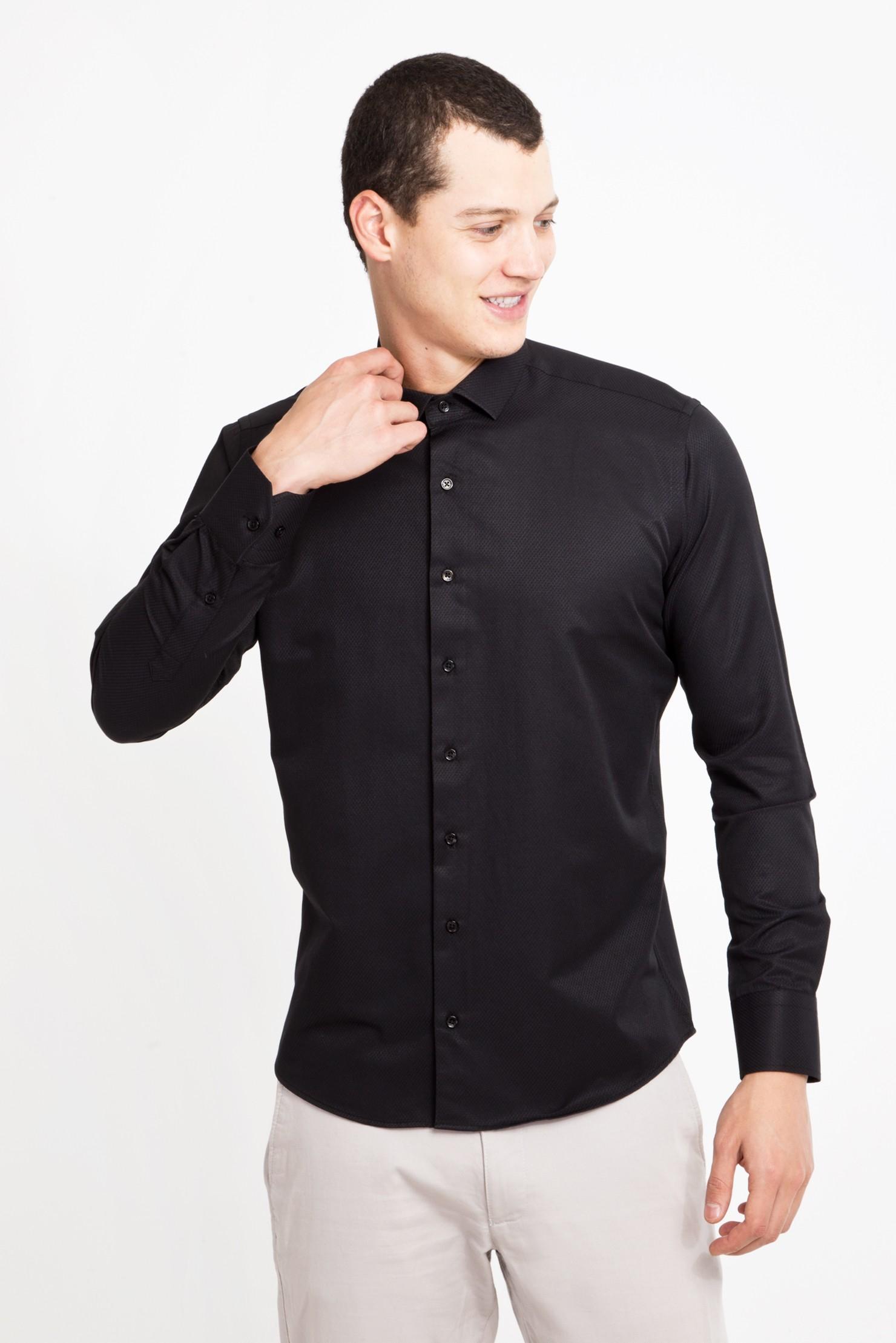 Kigili Menswear Dress Shirts Black Long Sleeve Plaid High Quality Slim Fit Spread Collar Made In Turkey