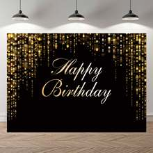NeoBack Happy Birthday Party Backdrop Black Gold Glitter Bokeh Sequin Spots Photography Background Golden Sparkle Shining Dots