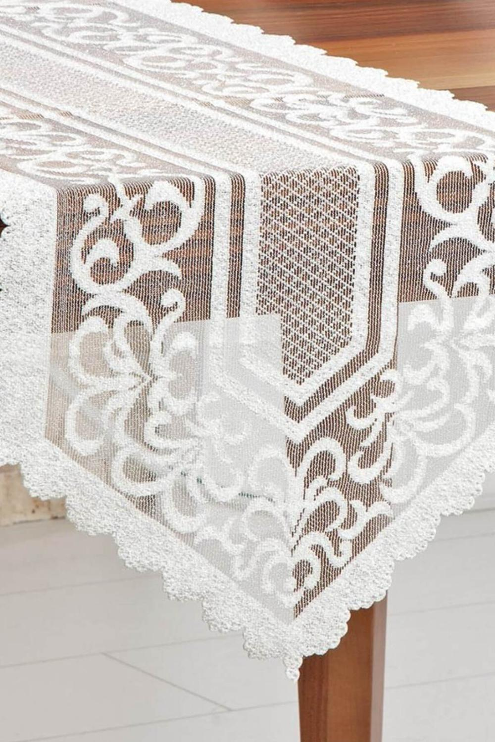 White Cream Embrodery Tulle Rectangular Table Cover For Dining Room Small Kitchen Table Runner For Wedding Birthday Baby Shower