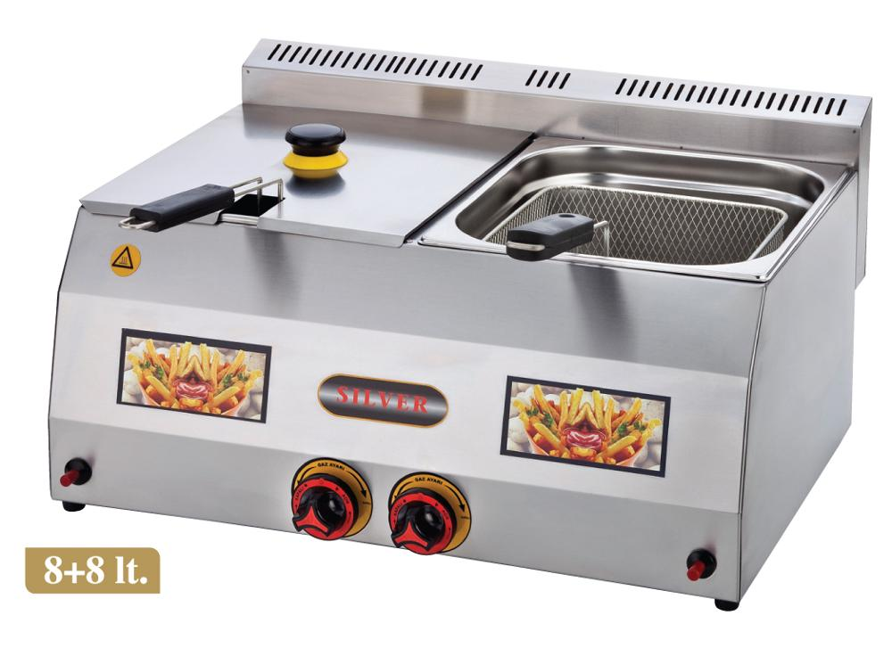NATURAL Or LPG GAS - DUAL TANK 8+8 Lt. Total 16 LT. Commercial Kitchen Stainless Steel Catering Restaurant Countertop Deep Fryer