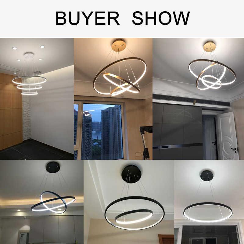 Современный светодиодный подвесной светильник для гостиной, столовой, белого, золотого, кофейного, черного цветов, круглые кольца, алюминиевый корпус, лампа для дома