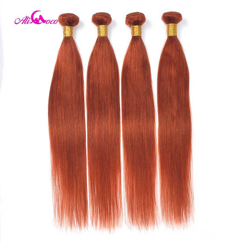 Ali Coco Brasil Rambut Lurus Menenun Orange Jahe 100% Rambut Manusia Bundel 1/3 Pcs 8-30 Inci Non remy Rambut Ekstensi